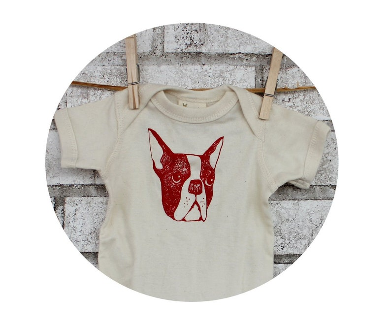 Boston Terrier Baby One Piece Dog Lover Family Pet Cotton Bodysuit Ivory Cream Infant Creeper Snapsuit Red and Natural