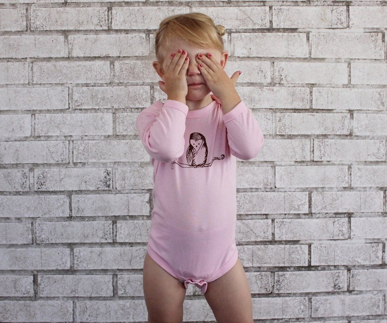 Baby Onepiece Screenprint Shirt Long Sleeved One Piece Baby Girl Clothing Barn Owl  Onepiece Cotton Infant Bodysuit Pastel Light Pink