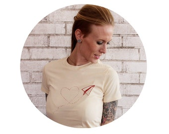 Womens Tshirt,  Love Notes Paper Airplane cotton tshirt in TAN, Cotton Crewneck Ladies Tee Shirt, Screen-printed Clothing, Beige Cream Ivory