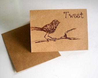 "Cute Little bird on a branch saying ""tweet"" screen printed greeting card blank inside"