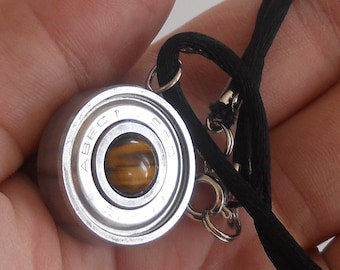 Roller Derby Skate Bearing Necklace, inlayed with tiger eye,  made from an upcyced roller derby bearing