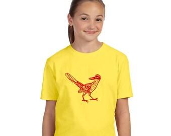 Roadrunner Tshirt, Shirts for Children, Southwestern Bird, Yellow Tshirt, Short Sleeved Cotton Crewneck, Hand Printed, New Mexico Shirt