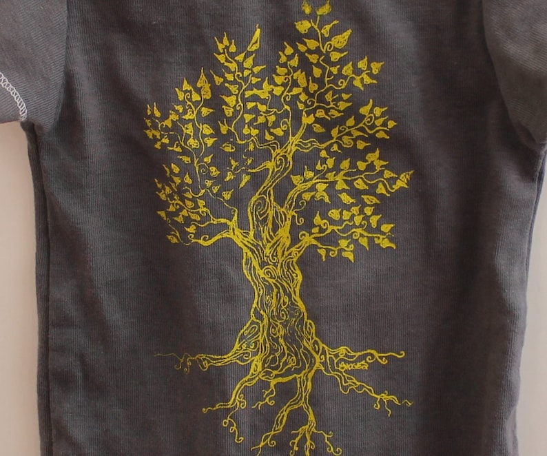 Short Sleeved nature Cotton Baby Bodysuit Tree Infant Creeper Unisex Baby Clothing yellow grey One Piece Baby Shower Gift Snapsuit