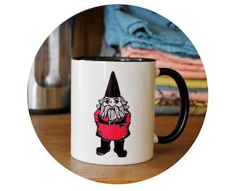 Garden Gnome Cup 11 oz Coffee Mug, Sublimated By Hand, Warm Beverage, Tea Mug, Housewarming Gift, Spring Gardening, World Travel, Lawn
