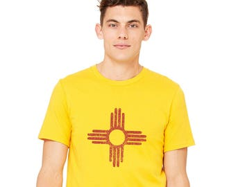 New Mexico Zia Shirt, Men's Cotton Cewneck Graphic Tee, Albuquerque, Unisex Yellow Tshirt Zia Sun Symbol, Short Sleeved Top, State Flag