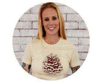 Ladies Pine Cone T Shirt in Tan, Nature, Holiday, Womens Tshirt, Rustic Holiday, Christmas, Winter, Pinecone, Camping Nature Tshirt, Cream