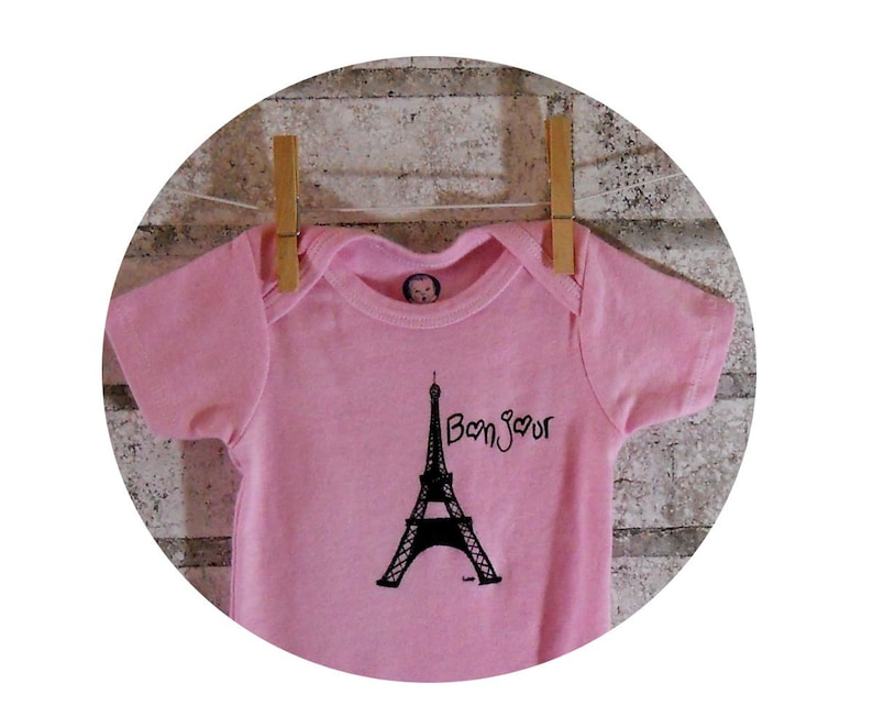 French Baby Onepiece, Eiffel Tower Onepiece, Paris Onepiece pink and black  , Cotton, Infant Creeper