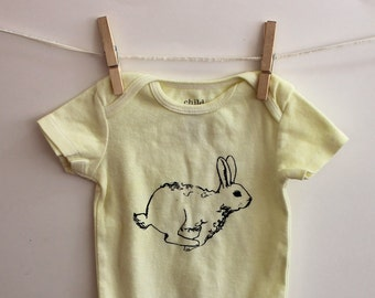 Easter Bunny Baby One Piece, Cotton Baby Bodysuit, Infant Creeper,  One-Piece Snapsuit, Light Butter Yellow, Hand Printed, Screenprint Shirt