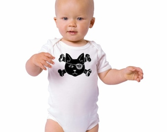 Pirate Cat Baby Bodysuit, Pirate Party Shirt, Kitty Pirate Baby Clothes, CAT Shirt, Family Pet, New baby Gift, Short Sleeved  Baby Onepiece