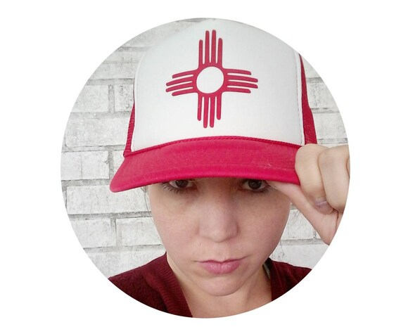 New Mexico Hat Trucker Hat Zia Sun Symbol Red And White Etsy