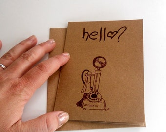 """Antique Telephone """"hello""""  screen printed greeting card blank inside, Saying Hi, Anytime  Note, Mailing Letters, Kraft Paper, Brown, Natural"""