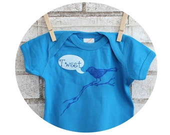 """Bird Baby Bodysuit, """"tweet"""", Cotton Infant Creeper, Baby shower Gift, Blue, Turquoise, Onepiece, Hand printed Screenprint, Short Sleeved"""