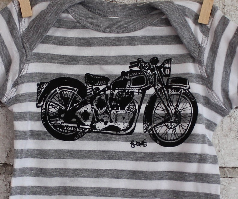 Vintage Motorcycle baby bodysuit One Piece Snapsuit motor bike top great baby shower gift Grey and White Striped Cotton Infant Creeper