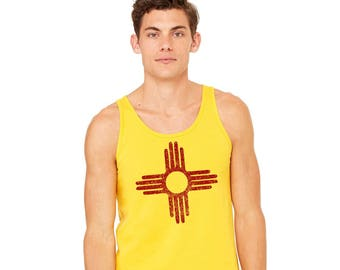 Zia Tank Top, Unisex Tank Top, New Mexico Flag, Distressed Zia Sun Symbol, Gym Shirt Gift For Men Men's Top Gold and Red Screenprinted Shirt