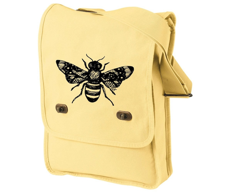 Honey Bee Messenger Bag Canvas Field Bag Black and Yellow image 0