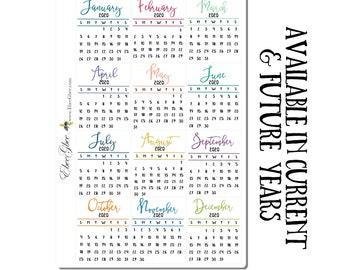 SCRIPT MINI CALENDAR Planner Stickers | BeeColorful BuJo Style