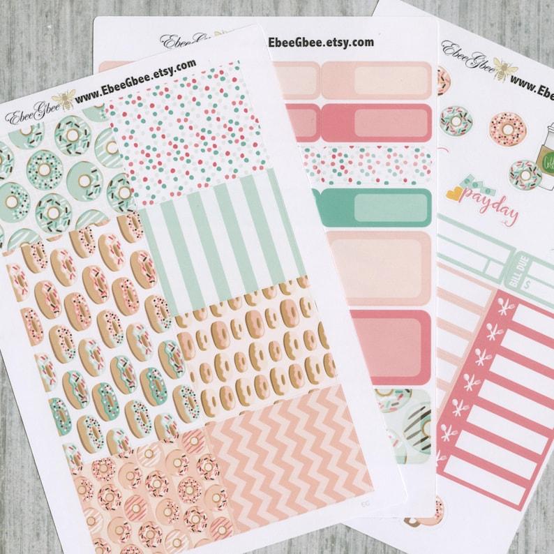 DONUT WEEKLY Planner Sticker Set Rose Pine Peach Mint