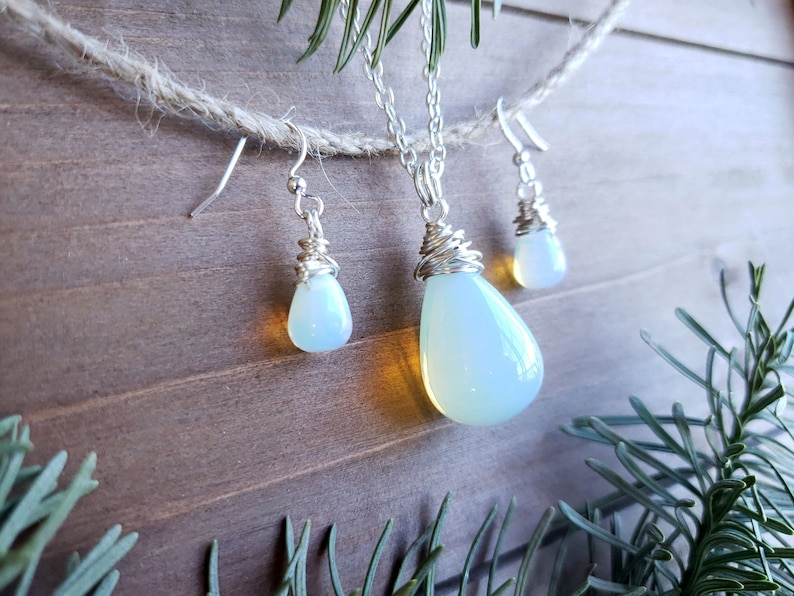 Large Opalite Glass Drop Necklace  Wire Wrapped Opalite Drop Necklace & Earrings