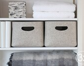 Large Size, Set of 3 / Custom-made Felt Storage Basket / Storage Box for a Shelf
