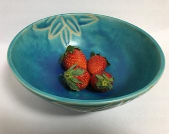Turquoise Blue Bamboo Leaves Ceramic Bowl