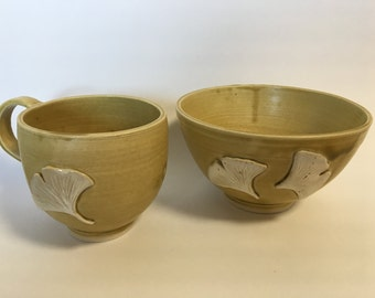 Ginko Leaves Tea Cup and Morning Bowl set