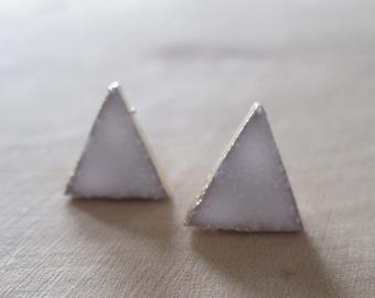 White Druzy Quartz Triangle Studs| Druzy Earrings | Druzy Jewelry