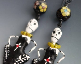 Antique Chinese Cloisonne Skeleton Earrings