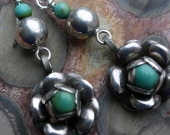 Vintage Mexico Rose Sterling Turquoise Earrings
