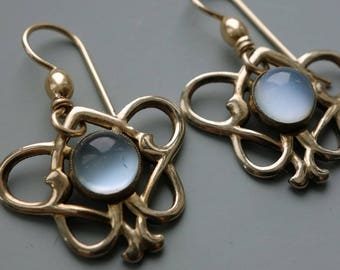 Art Nouveau Moonstone Vermeil Earrings