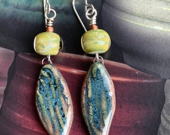 Turquoise Green Handmade Bead Earrings