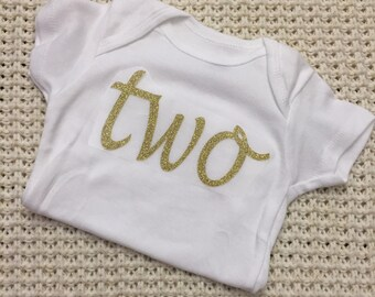 "Gold Glitter Iron-On vinyl cursive ""two"" lettering for yearly, monthly or birthday onesie- Lettering ONLY (First Class Mail Shipping)"