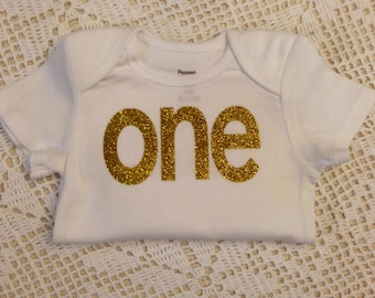 "Gold Glitter Iron-On vinyl ""one"" lettering for yearly, monthly, or birthday onesie- Lettering ONLY"