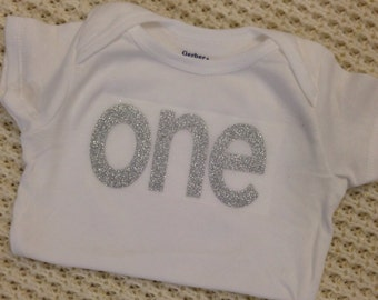 "Silver Glitter Iron-On vinyl ""one"" lettering for yearly, monthly, or birthday onesie- Lettering ONLY (First Class Shipping Rate)"