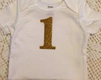 "Gold Glitter Iron-On vinyl ""1"" number for yearly, monthly, or birthday onesie- Lettering ONLY"
