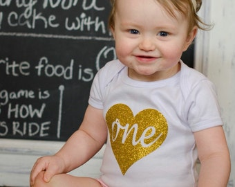 "Gold Glitter Iron-On vinyl cursive heart ""one"" lettering for yearly, monthly, or birthday onesie- Heart and Lettering ONLY"