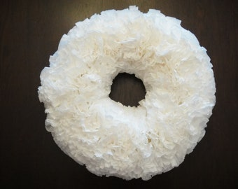 White Coffee Filter Wreath- ready for your next shower/party/bash