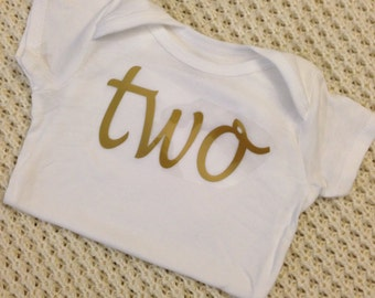 "Gold Iron-On vinyl cursive ""two"" lettering for yearly, monthly or birthday onesie- Lettering ONLY"