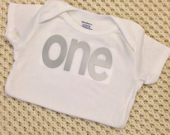 "Silver Iron-On vinyl ""one"" lettering for yearly, monthly or birthday onesie- Lettering ONLY (First Class Shipping Rate)"