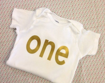 "Gold Iron-On vinyl ""one"" lettering for yearly, monthly or birthday onesie- Lettering ONLY (First Class Shipping Rate)"