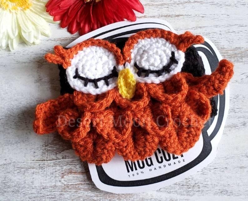 Crochet Owl Mug Cozy Autumn Owl Mug Hug Fall Season Coffee image 0