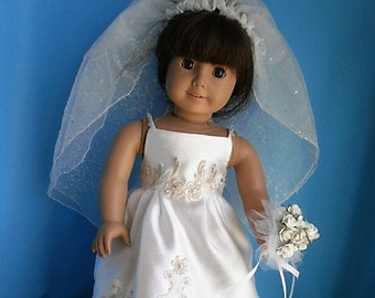 Bridal Ensemble Hand Made for American Girl Size Dolls