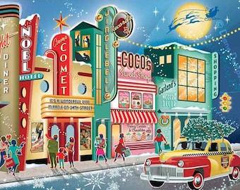 Vintage Main Street Christmas Cards, 8 cards & Envelopes| Vintage Christmas Cards | Mid Century Christmas Cards | Retro Christmas Cards