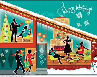 Mid Century Modern House Christmas Cards, 8 cds + color env | Vintage Style Christmas Cards | Modern Christmas Cards | Retro Christmas Cards
