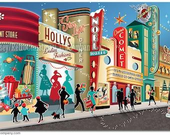 Vintage Main Street Christmas Cards, 8 cards + color env. | Vintage Christmas Cards | Mid Century Christmas Cards | Retro Christmas Cards