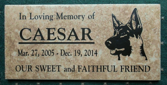 German Shepherd Memorial Marker 12x6 - Weathered  Italian porcelain stone tile- Caesar Design