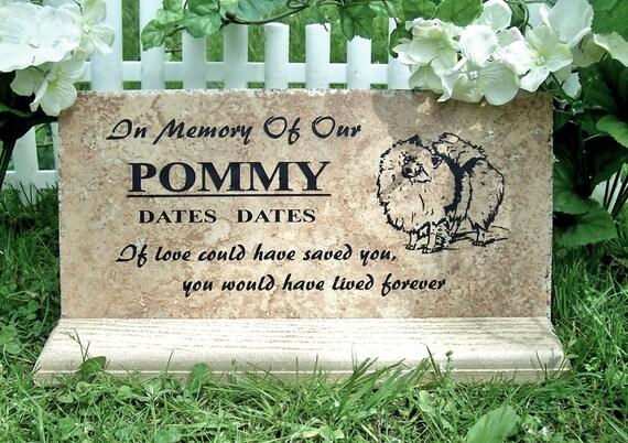 Pomeranian Memorial Marker 12x6 - Weathered Italian porcelain stone tile.
