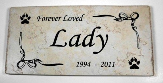"Pet Grave Marker 12x6- ""Lady"" design - Permanent Personalized Engraving"