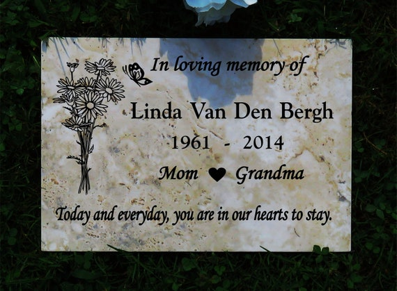 Garden Memorial plaque 12x8  Maintenance Free Polished Porcelain Stone Tile- Satisfaction Guaranteed - Free Priority Shipping