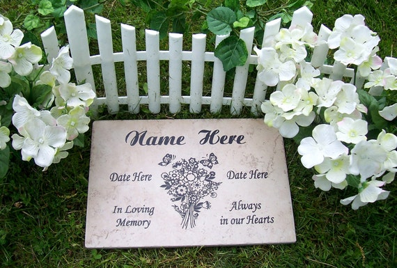 "Bouquet Garden Memorial Plaque -12x8"" Durable Weathered Italian Porcelain Tile"