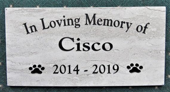 "Pet Memorial 12x6  ""Cisco"" design. Maintenance Free Polished Porcelain Stone Tile- Satisfaction Guaranteed - Free Priority Shipping"
